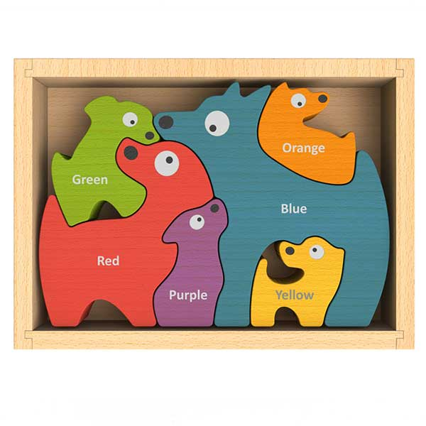 Dog Family Bilingual (English-Spanish) Color Puzzle