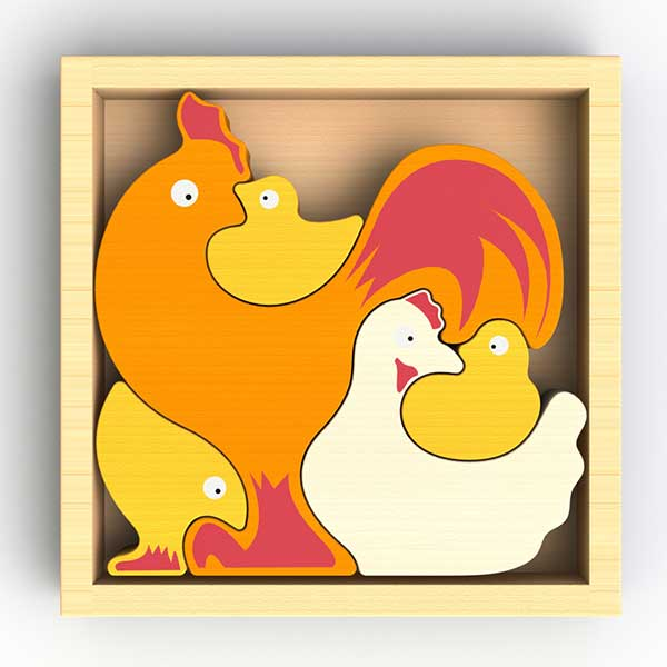 Chicken Family Puzzle & Playset